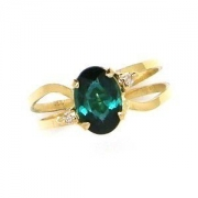 Anel Turmalina Azulada Diamantes Em Ouro 18K 18639 K372