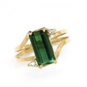 Anel Turmalina Verde Extra Diamantes Ouro 18K 18640 K455