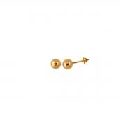 Brinco Bola 5 Milímetros Ouro 18K Tarraxa Rosca 22277 K060