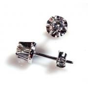 Brinco Clássico Diamantes 36 Pontos Genuíno Ouro Branco 750