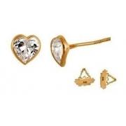 Brinco Coração 3 Milímetros Zircônia Ouro 18K Tarraxa Rosca 22661 K048