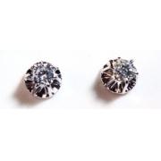 Brinco Diamante Brilhante 44 Pontos Ouro Branco 18K k1130