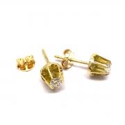 Brinco Diamantes Classico 24 Pontos Ouro 18K 750 K595