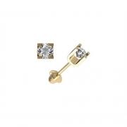 Brinco Infantil Zircônia 3 Milímetros Genuíno Ouro 18K K077 21261