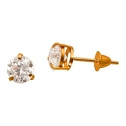 Brinco Ponto De Luz Brilhante De Zircônia 5 Milímetros Ouro 18K 20568 K085