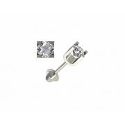 Brinco Zircônia 3,5 Milímetros Ouro Branco 18K 21263 K110