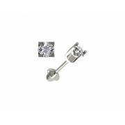 Brinco Zircônia 3 Milímetros Ouro Branco 18K 21262 K080