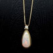 Colar E Pingente Opala Com Diamante Em Ouro 18K 21531 K470