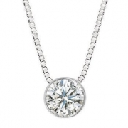 Colar Ponto De Luz Diamante Brilhante Extra 50 Pontos Ouro Branco 18K K1225