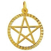 Estrela 5 pontas Pentagrama 35mm Ouro Branco 18k Com Aro K570