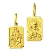 Medalha Escapulário Retangular Mini 0,95Cm Ouro 18K K060