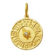 Medalha Mandala Signos com Diamante 100% Ouro 18k K220