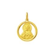Medalha Pingente Ouro 18k Redondo 1,7cm com Aro Médio Todos os Santos Religiosos k130