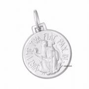 Medalha São Bento Dupla Face Original 18 Milimetros Ouro Branco 18K K290