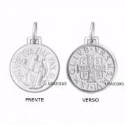 Medalha São Bento Dupla Face Original 21 Milimetros Ouro Branco 18K K380