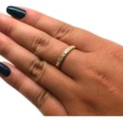 Aliança Diamante Brilhante Luxo Ouro 18K 11981 K536