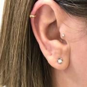 Ouro 18K Piercing Tragus Cartilagem Argola Fecho Trava Clip 22195 K033
