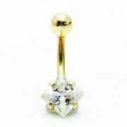 Ouro 18K Piercing Umbigo Com Ponto De Luz Quadrado 6x6 25616 k100
