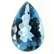 Pedra lapidada London Blue Topázio Extra Natural Facetado Gota 18cts