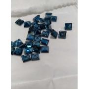 Pedra Lapidada Topázio Azul Natural London Blue Carre 7x7mm