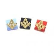 Pedra Safira Rubi Ônix Com Simbolo Maçon Em Ouro 18K
