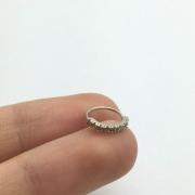 Piercing Cartilagem Argola Pedra Zircônia Ouro Branco 18K 750 Agl K040