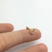 Piercing Cartilagem Tragus Coração Pedra 6 Milimetros Ouro 18K 21373 K045