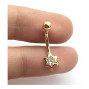 Piercing Estrela Com Pedra Ponto Luz Umbigo Ouro 18K 04581 K120