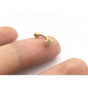 Piercing Hook Trágus Cartilagem Flor Pedra Ouro 18K 08670 K040-H