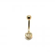 Piercing Umbigo Coração Brilhante De Zircônia Em Ouro 18K 21598 K080