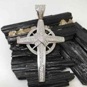Pingente Cruz Aro Prata De Lei Brilhante Zircônias 11310