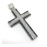 Pingente Cruz Prata De Lei Black Brilhante Zircônias 17070