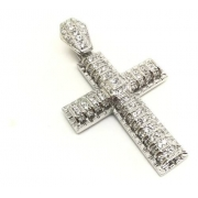 Pingente Cruz Prata De Lei Brilhante Zircônias 10548