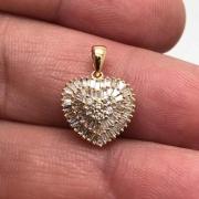 Pingente Diamante Naturais Pizza Coração Ouro Amarelo 18K