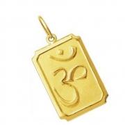 Pingente mantra OM tibetano Ideograma em Ouro 18k k130