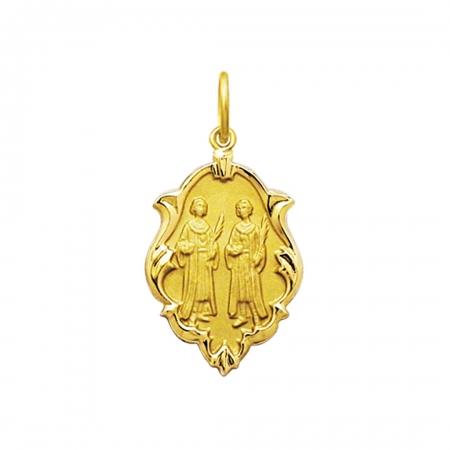 Pingente Medalha Cosme E Damião Em Ouro 18K Ornato Grande K230