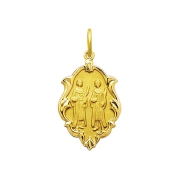 Pingente Medalha Cosme E Damião Em Ouro 18K Ornato Pequeno K070