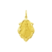 Pingente Medalha Nossa Senhora Aparecida Ornato Ouro 18K Média K130
