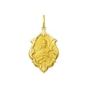 Pingente Medalha Santa Teresinha Em Ouro 18K Ornato Média K130