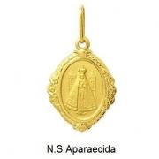 Pingente Nossa Senhora Aparecida Oval Ouro 18K Dmr6 K110