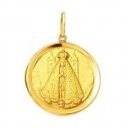 Pingente Nossa Senhora Aparecida Redonda Ouro 18K