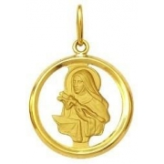 Pingente Santa Rita Ouro 18K Dmr 11V 11 K600 Com Aro