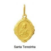 Pingente Santa Teresinha Oval Ouro 18K Dmr6 K110