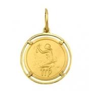 Pingente Virgem Signos Com Aro Em Ouro 18K K150