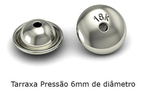 1 Tarraxa De Brinco Adulto Pressão 6mm Ouro Branco 18k Universal