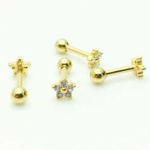 Ouro 18K Piercing Flor Ponto Luz Cartilagem Trágus Orelha 08670 K040