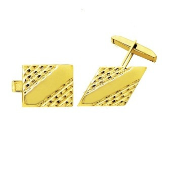 Abotoadura Clássica Clipe Retangular Esculpida em Ouro 18k Dab 4 610