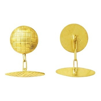 Abotoadura Clássica Ouro 18k Redonda Desenhos Esculpidos Quadriculados  k380