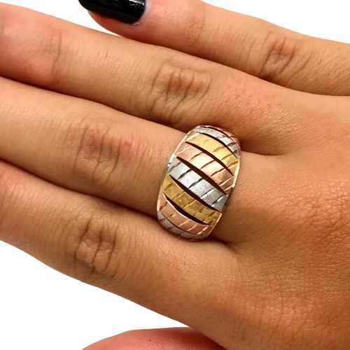 Anel Tres Ouro 18K Abaloado Diamantado 19331 K250
