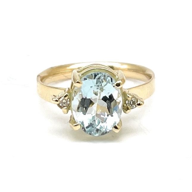 Anel Água Marinha Azul e Diamantes Ouro 18K 18645 K390
